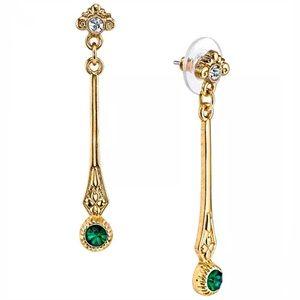 Goldtone Georgian style faux emerald drop earrings
